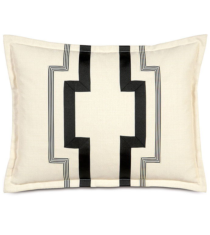 FOLLY PARCHMENT STANDARD SHAM - GRAPHIC DESIGN PILLOW,TRIM ACCENT,PIN STRIPED,BLACK AND WHITE,BLACK AND CREAM,BLACK,CREAM,IVORY,TAN,NEUTRAL,CONTRAST,CLASSIC,TRADITIONAL,ELEGANT,STANDARD SHAM,BED PILLOW,PILLOWCASE