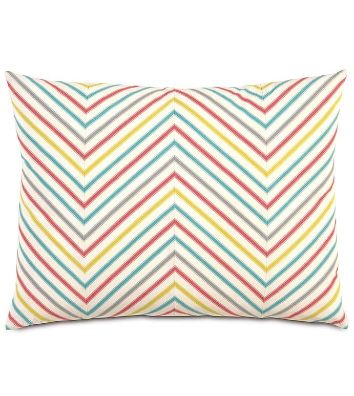 AFTON SHERBERT STANDARD SHAM - candy stripe pillow,rainbow pillow,chevron pillow,rainbow,colorful,girls room pillow sham,striped,kids pillow,colorful pillow sham,chevron pillowcase,white,red,yellow,blue,gray