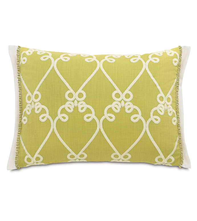 Etta Lime Standard Sham - GREEN AND WHITE STANDARD SHAM,GREEN AND WHITE PILLOW,LIME GREEN SHAM,GREEN AND WHITE,CHARTREUSE,EMBROIDERED WHITE SHAM,BRIGHT FEMININE PILLOW,CONTEMPORARY,ECLECTIC PILLOW