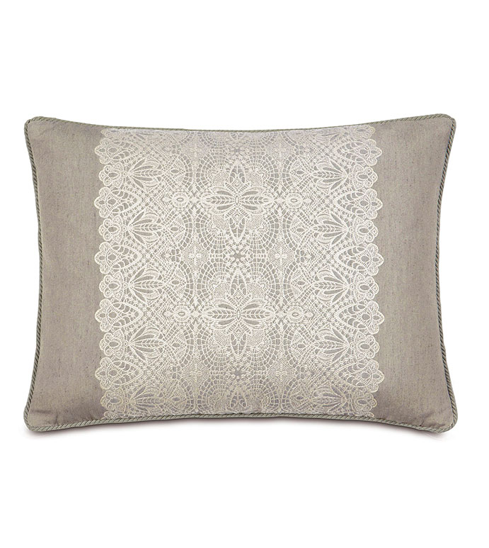 Thayer Silver Standard Sham - PILLOW,LACE PILLOW,THROW PILLOW,STANDARD SHAM,TRADTIONAL PILLOW,DECORATIVE PILLOW,HIGH END PILLOW,SILVER PILLOW,CUSTOMIZABLE PILLOW,ACCENT PILLOW,DOUBLESIDED PILLOW,TOSS CUSHION