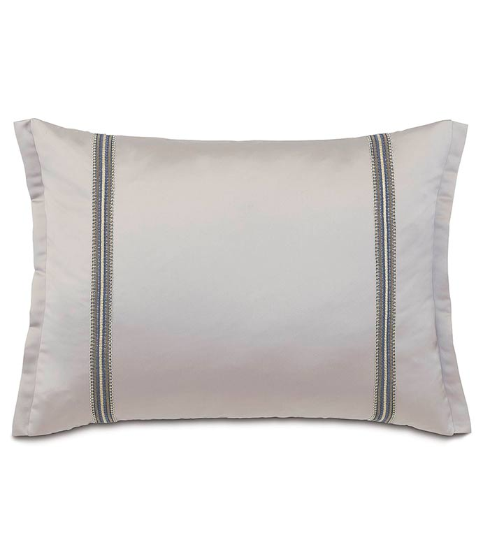Daza Mink Standard Sham - SILVER,TAUPE,GREY,WELT,PILLOW,PATTERN,DESIGN,GLAM,MODERN,TRIM,ACCENT,METALLIC,BEDROOM,BED,LUXURY BEDDING,INTERIOR DESIGN,SHAM,ROW,STRIPE,SOLID,STANDARD,FLANGE,PILLOWCASE,