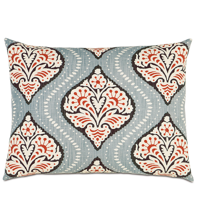 Bowie Ogee Standard Sham - STANDARD SHAM,RECTANGLE,PATTERNED,WHITE,BLUE,ORANGE,BLACK,AZTEC,SILVER,KNIFE EDGE,BEDDING,DECORATIVE PILLOW,BEDROOM,FLORAL DESIGN,GEOMETRIC PRINT,BEACH HOUSE,FACE DESIGN
