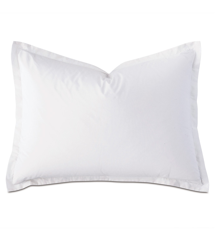 Vail Percale Standard Sham in White - FLANGE,PERCALE,100% COTTON,EGYPTIAN COTTON,PERCALE COTTON,LUXURY,HIGH-END,HIGH-QUALITY,20X27,THROW PILLOW,ACCENT PILLOW,WHITE,NEUTRAL