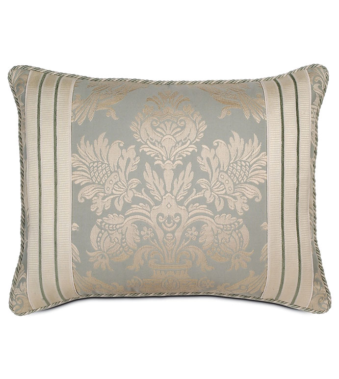 CARLYLE STANDARD SHAM - SPA BLUE SHAM,BLUE PAISLEY STANDARD SHAM,BLUE AND CREAM PAISLEY,TRADITIONAL VICTORIAN PILLOW,VICTORIAN PILLOWCASE,CLASSIC,BLUE AND WHITE,MUTED PLUE,LARGE PAISLEY PILLOW,ELEGANT
