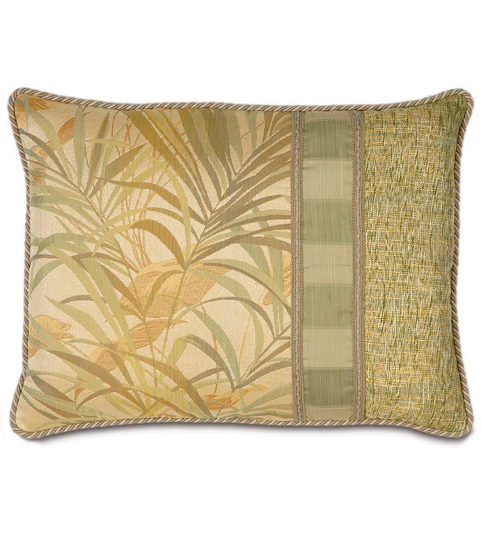 ANTIGUA STANDARD SHAM RIGHT - tropical leaf,bamboo,tropical grass,contrast fabric,island house,tropical pillow,cabana pillow,standard sham,green,tan,gold,yellow,lake house,cord edge,woven,striped,trim
