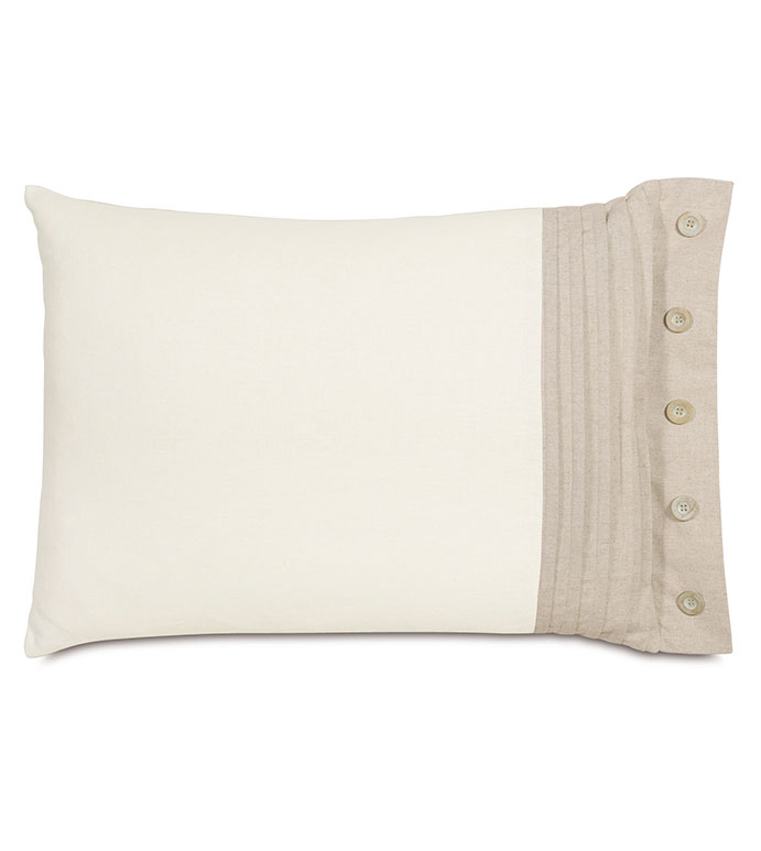 Maritime Pleated Right Standard Sham in Ivory - ACCENT PILLOW,THROW PILLOW,STANDARD SHAM,EASTERN ACCENTS,IVORY,LINEN,SOLID,PLEATED,BUTTONS,