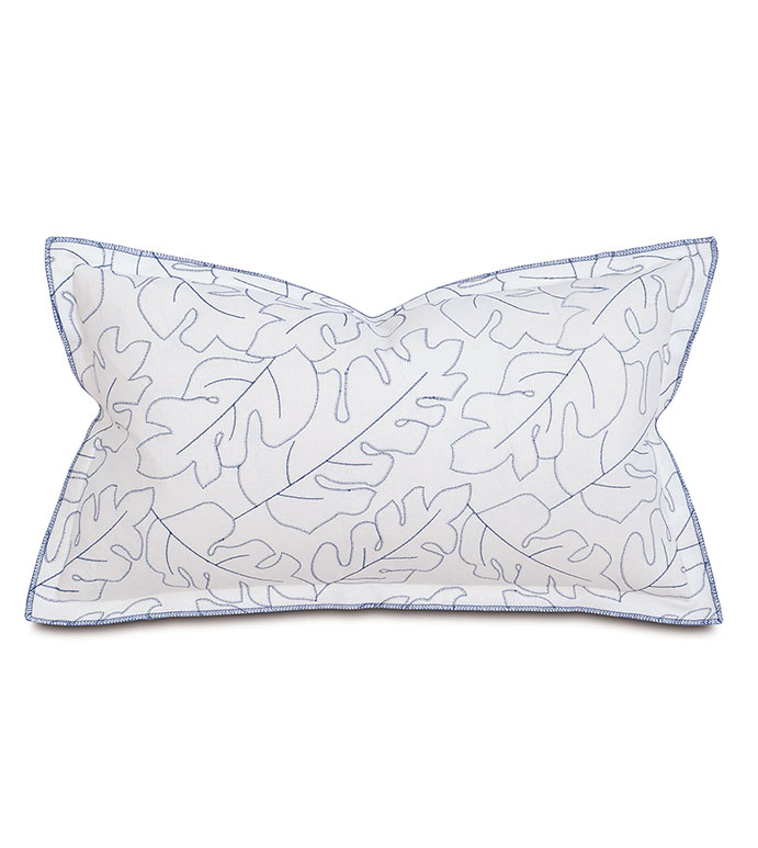 Treviso Denim Boudoir Sham - pillow, throw pillow,leaf patterned pillow,rectangle pillow,decorative blue pillow,boudoir sham pillow,sham accent pillow,embroidered pillow,feather pillow,zip closure pillow