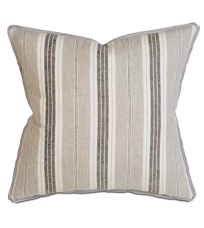 Chatham Slate - PILLOW,STRIPE PILLOW,SQUARE PILLOW,PRINTED STRIPE ACCENT PILLOW,THROW PILLOW,FEATHER PILLOW,PRINTED LINEN PILLOW,ZIPPER CLOSURE PILLOW,ACCENT PILLOW,BUTTERFLY PLEATS FINISHING