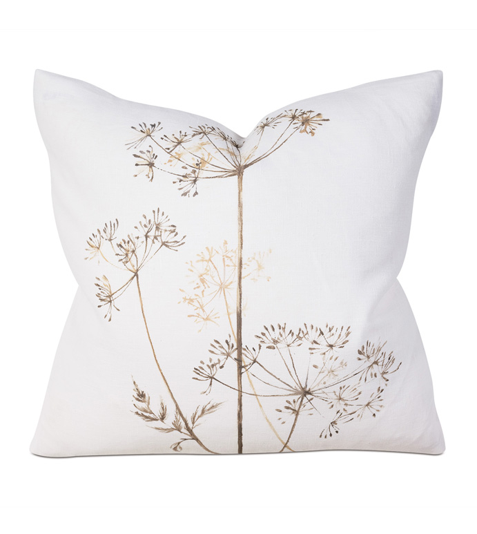BREEZE SHELL HP SQUARE - PILLOW,FLORAL PILLOW,SQUARE PILLOW,ACCENT PILLOW,THROW PILLOW,FEATHER PILLOW,BOTANICAL PILLOW,HAND-PAINTED PILLOW PATTERN,ZIPPER CLOSURE PILLOW,ACCENT PILLOW,KNIFE EDGE TRIM PILLOW
