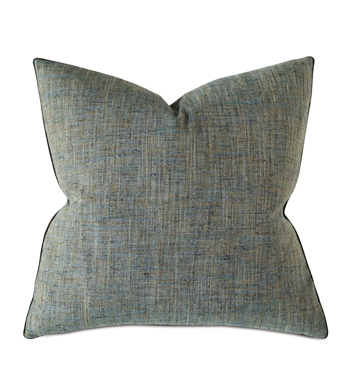 Rowley Woven Decorative Pillow in Teal - THROW PILLOW,DECORATIVE PILLOW,ACCENT PILLOW,PILLOW,TEXTURE,TWILL,TWEED,THOM FILICIA,DESIGNER,VELVET,LARGE,SQUARE