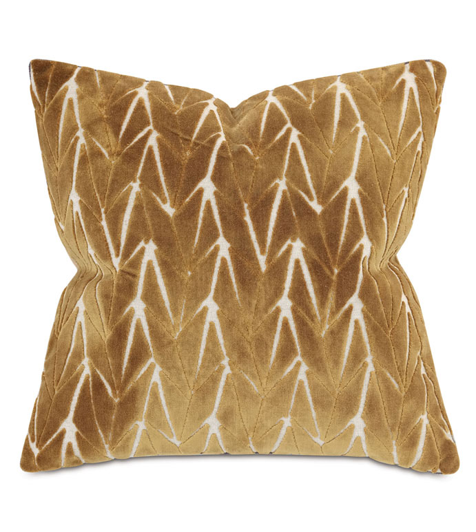 PHASE VELVET DECORATIVE PILLOW IN MUSTARD