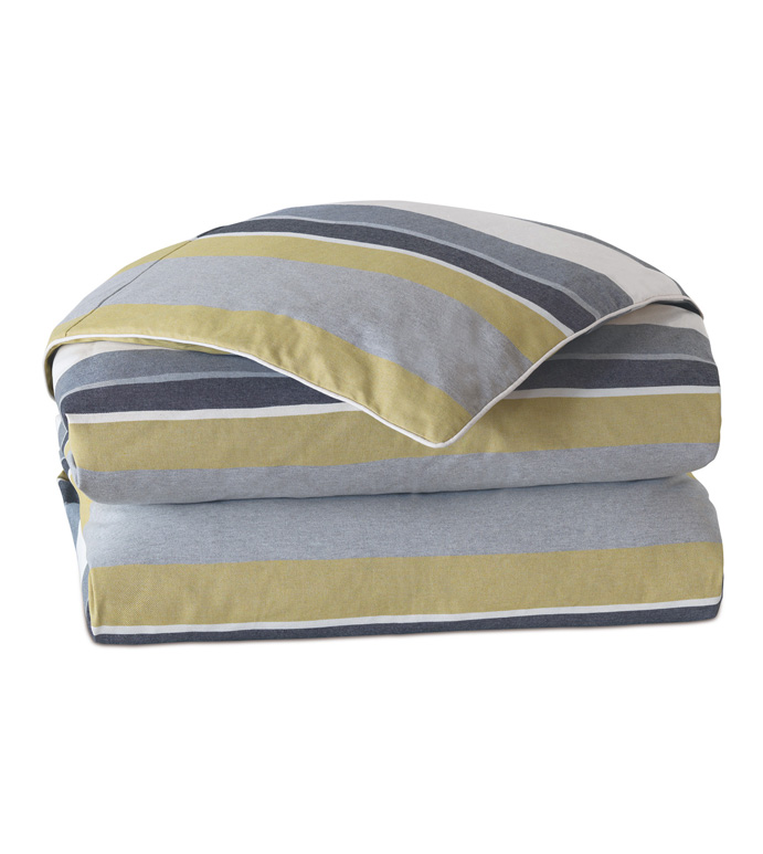 Bertrand Citron Duvet Cover - DUVET,DUVET COVER,CONTEMPORARY DUVET,STRIPED DUVET,REVERSIBLE DUVET,DOUBLE SIDE FABRIC DUVET,QUEEN DUVET,QUEEN DUVET COVER,BUTTON CLOSURE DUVET,BEDDING,BED COVERS,QUEEN BEDDING
