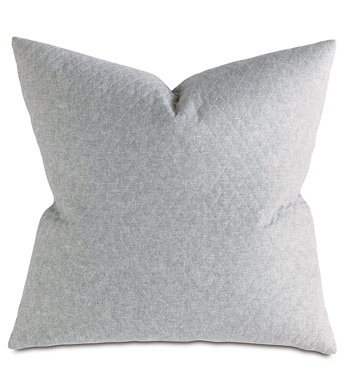 Bowen Slate Euro Sham - pillow,euro sham,quilted pillow,square pillow,toss cushion,throw pillow,accent pillow,tone on tone covered pillow,knife edge trim pillow,decorative pillow,taupe acccent pillow