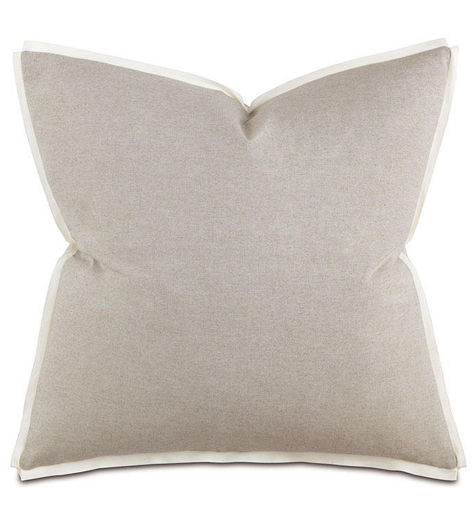 Greer Linen Euro Sham - pillow,euro sham,transitional pillow,linen pillow,square pillow,toss cushion,throw pillow,accent pillow,solid pillow,ribbon edge trim pillow,decorative pillow,zipper closure