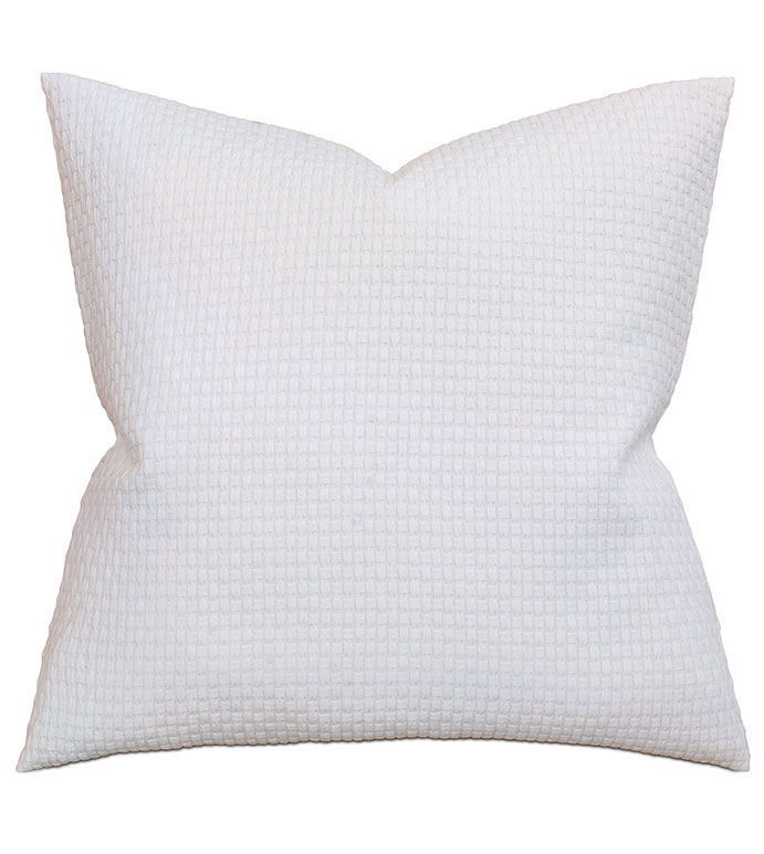 Albany White Euro Sham - pillow,euro sham,white pillow,square pillow,accent pillow,throw pillow,matelasse covered pillow,matelasse covered cushion,cotton covered pillow,washable covered pillow, knit cover