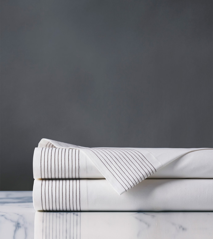 Marsden Dove Flat Sheet - sheets,dove flat sheet,sheeting,fine linens,bedding,luxury sheets,high-end sheets,high-quality sheets,200 thread count sheets,percale sheets,Egyptian cotton sheets