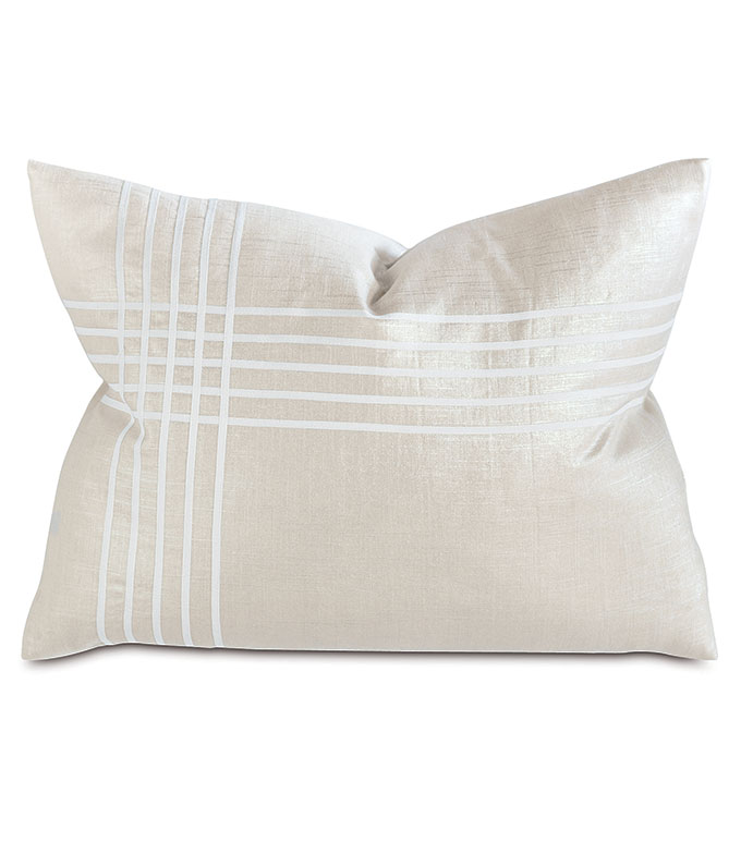 Reflection Frost Left Standard Sham - pillow,metallic pillow,standard sham,shinny pillow,rectangle pillow,throw pillow,accent pillow,deorative pillow,feather pillow,unisex pillow,zipper closure pillow,striped pillow