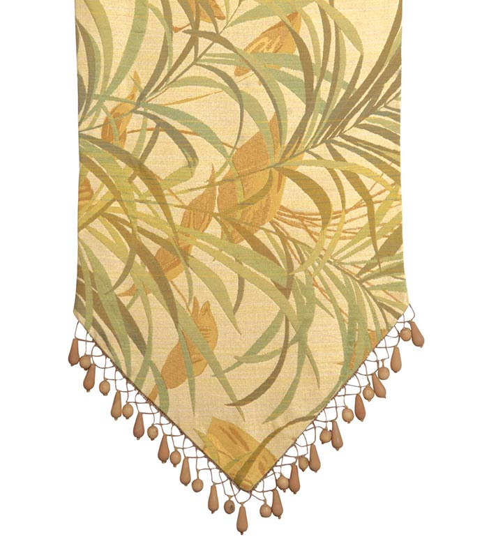 ANTIGUA RUNNER - tropical table runner,palm tree table runner,island table runner,green,gold,tan,wood bead,bead trim,dining room table,earth tone,coastal,beach,foliage,gold table runner,bird