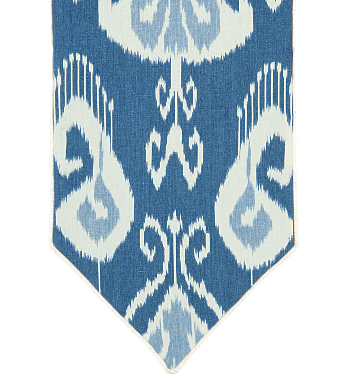 CEYLON RUNNER - blue ikat table runner,blue tropical table runner,blue and white table runner,blue ikat,graphic design,reversible table runner,pointed,contemporary,tropical,coastal,beach style