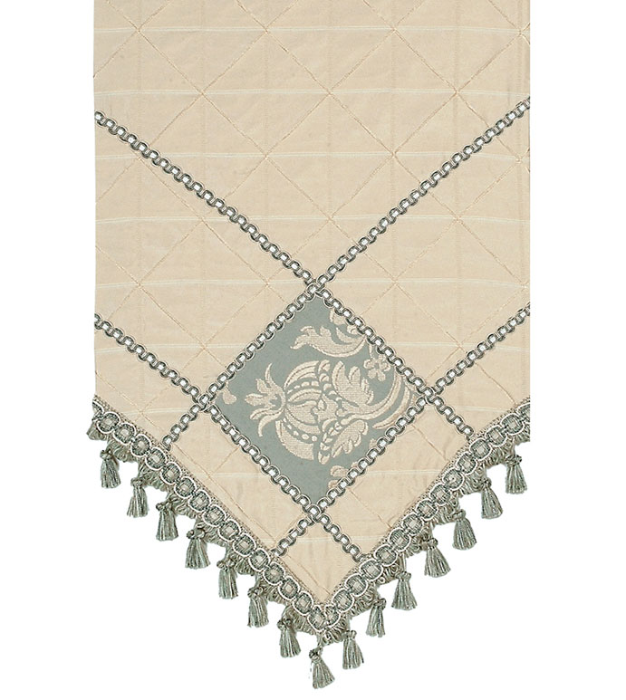 CARLYLE DIAMOND RUNNER - IVORY TABLE RUNNER,VICTORIAN TABLE RUNNER,TRIM DESIGN,STRIPED,CHECKERED,DIAMOND PATTERN,TASSEL TRIM,TABLE RUNNER WITH TASSEL,SPA BLUE,VICTORIAN HOME,CLASSIC,REVERSIBLE TABLE RUNNER
