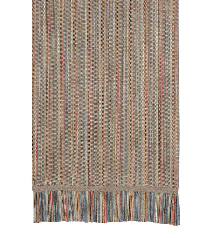 Lambert Kilim Runner - tan striped table runner,fringe edge,casual table runner,neutral stripe,vertical stripe,contemporary,rustic table runner,reversible table runner,hemp trim,earth tone,braided
