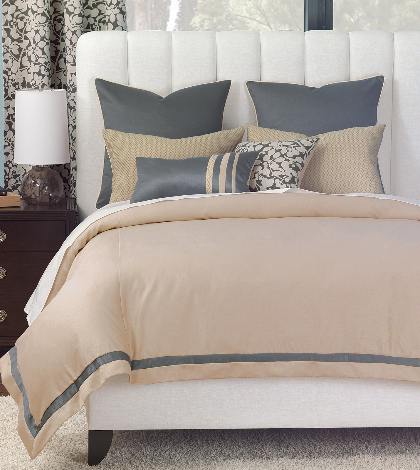 niche luxury bedding by eastern accents witcoff taupe duvet cover. Black Bedroom Furniture Sets. Home Design Ideas