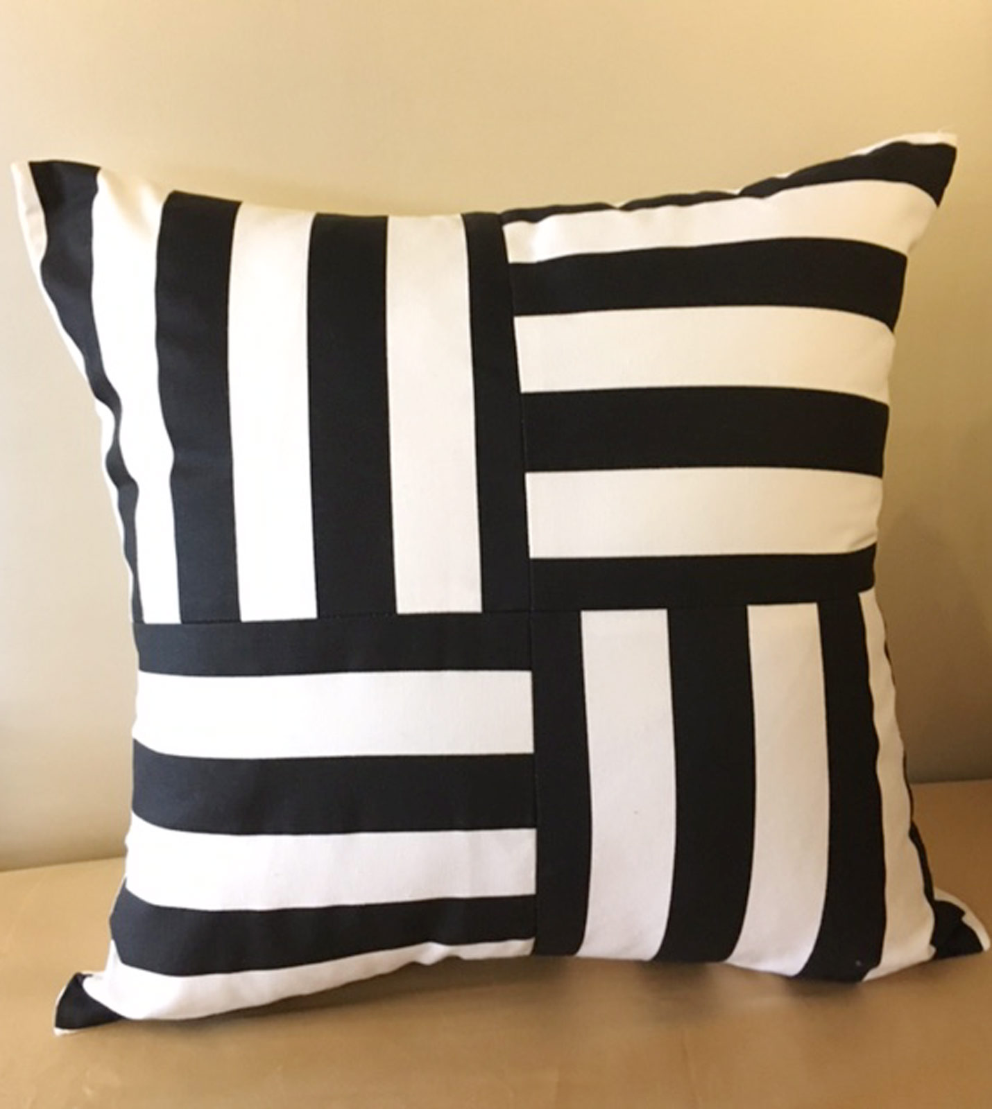 Black Throw Pillows For Bed : Luxury Bedding by Eastern Accents - Black and White Striped Decorative Pillow