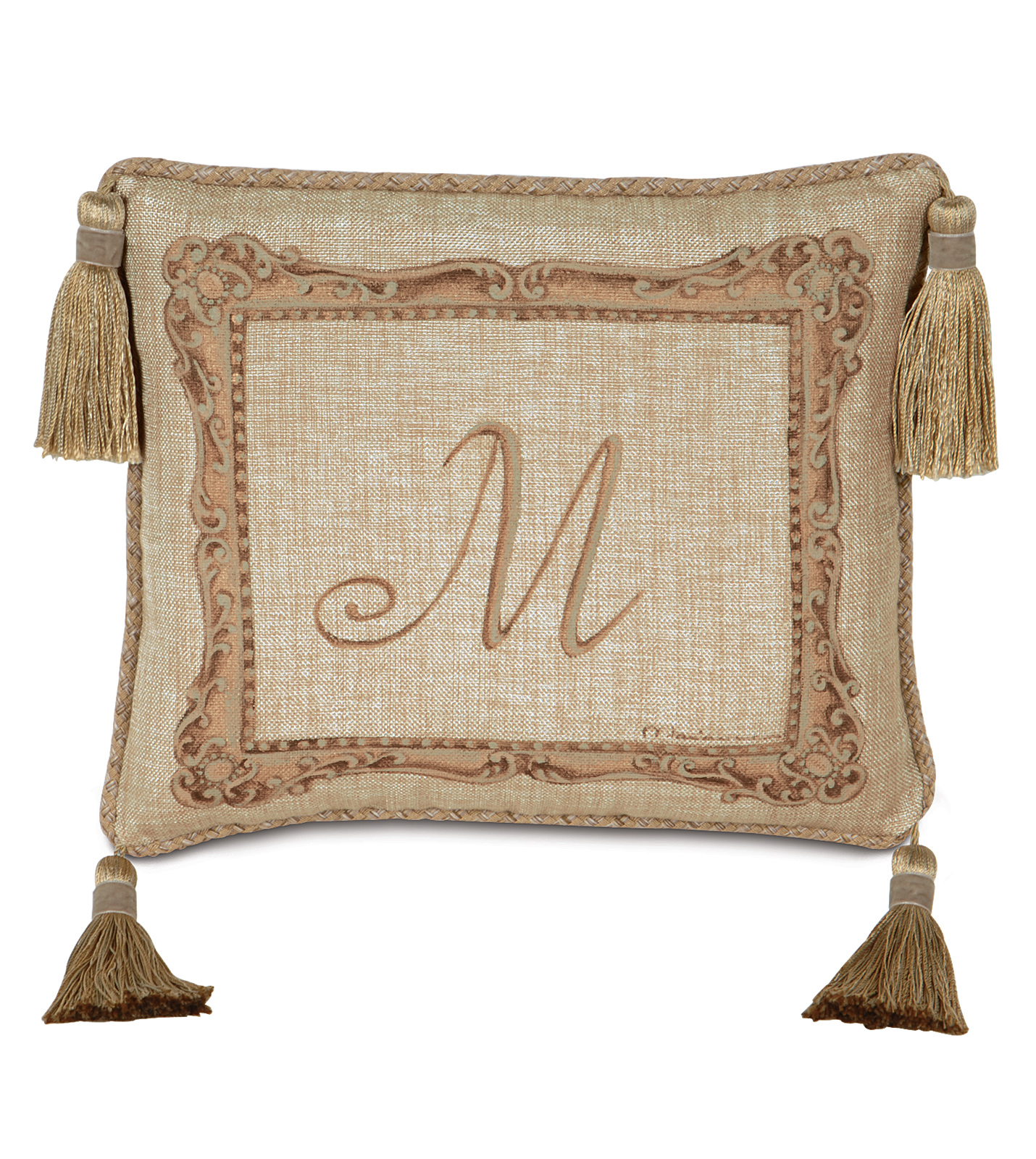 Luxury bedding by eastern accents hand painted monogram for Hand painted pillows