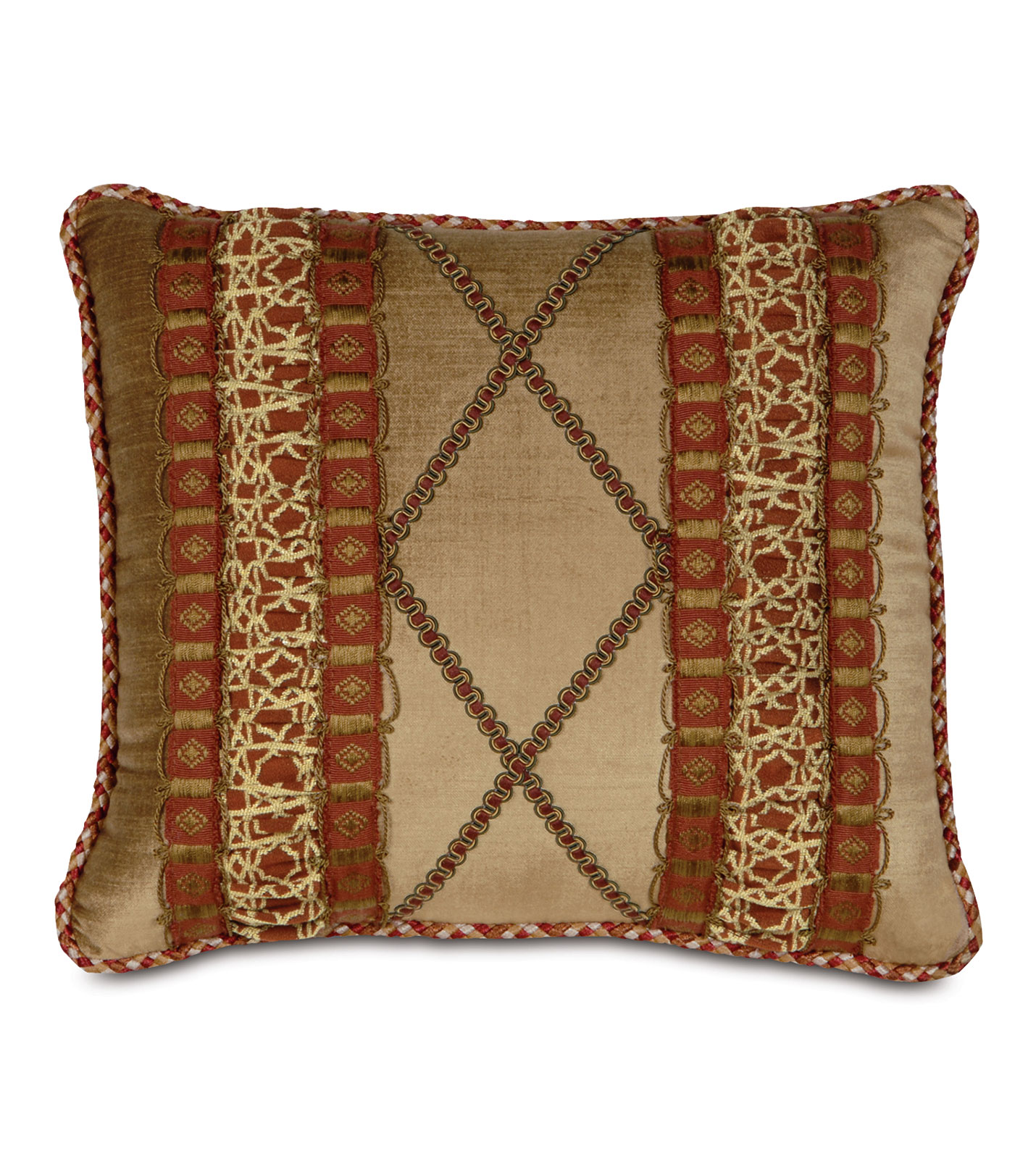 Decorative Pillow Inserts Down : Luxury Bedding by Eastern Accents - LUCERNE GOLD W/RUCHED INSERTS