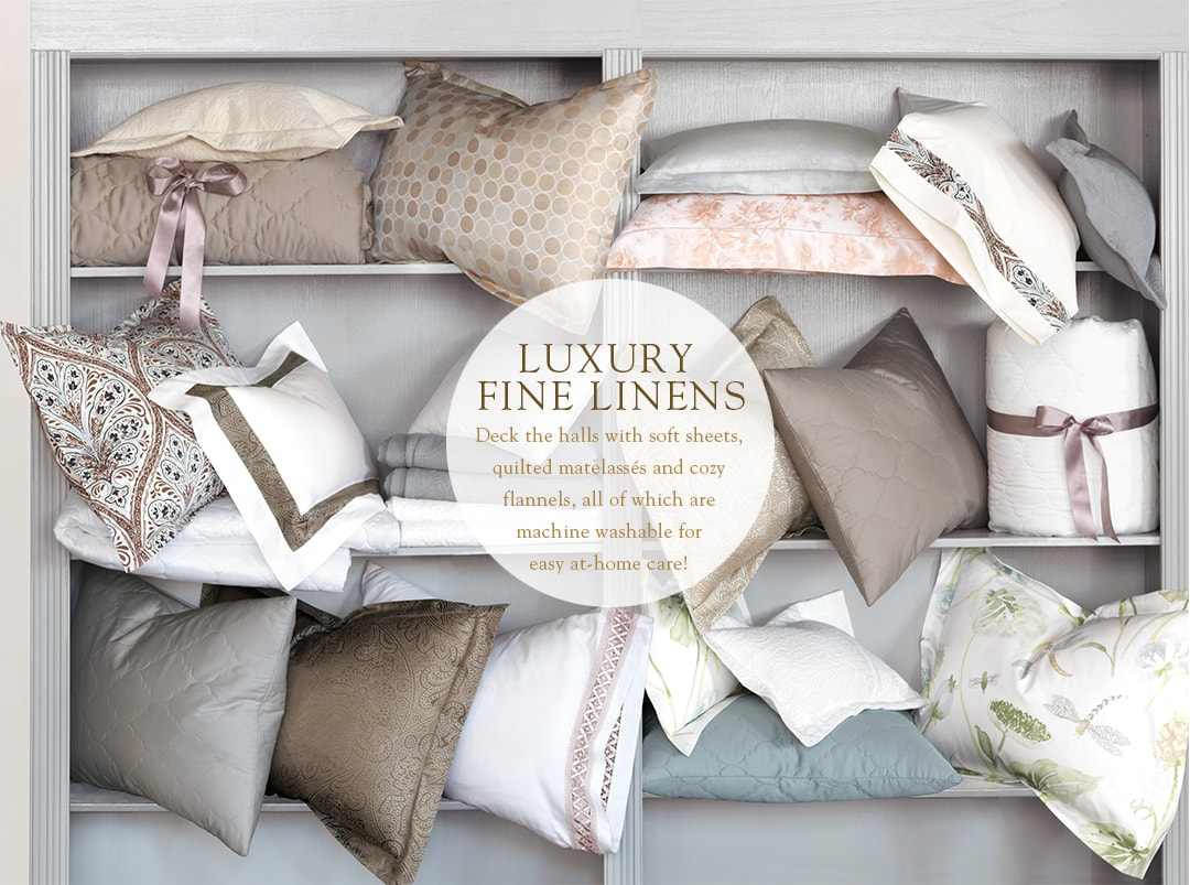 LUXURY FINE LINENS - Deck the halls with soft sheets, quilted matelasses and cozy flannels, all of which are machine washable for easy at-home care!