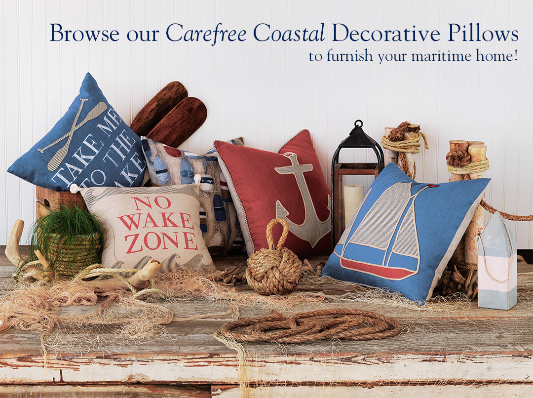 Browse our carefree coastal Decorative Pillows